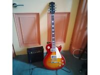 Electric guitar and amp with accessories