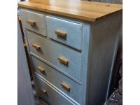 Solid oak chest of drawers limed finish