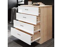 600mm White/Oak Chest of Drawers for Bedroom