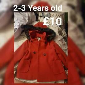 2-3 Year old red winter coat