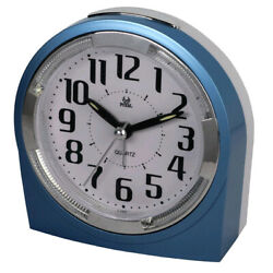 Quiet Sweep Second Hand Beep Alarm Clock with Snooze Portable for Travel-Blue