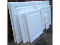 Kitchen Cupboard Doors and Panels Assorted Sizes in Chilton Gloss White, With Handles, Some Hinges