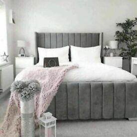 🔵💖🔴MASSIVE SAVING🔵💖🔴KING SIZE PLUSH VELVET ROYAL WING BED FRAME w OPTIONAL MATTRESS