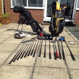 Golf clubs and equipment.