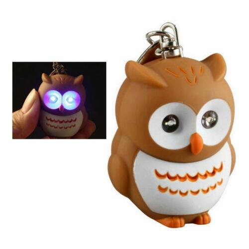 LED LIGHT KEYCHAIN OWL w SOUND Animal Toy Keyring NEW Key Chain Ring Bird Gift