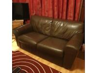 Stylish brown leather 2 seater sofa