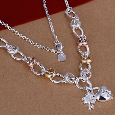 925 Sterling Silver Necklace Rose and Gold Tone Heart B1