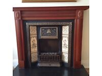 £120 Wooden fireplace surround electric fire cast iron tiled inset and black slate hearth