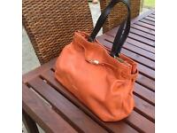 JAEGER woman's leather handbag in burnt orange leather