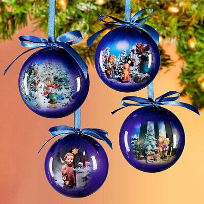 4 nostalgische Weihnachtskugeln, Baumkugeln mit Hummel-Motiv, 7cm, neu