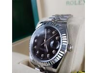 New Mens bagged silver Bracelet black dial automatic sweeping Rolex datejust watch diamond timestone