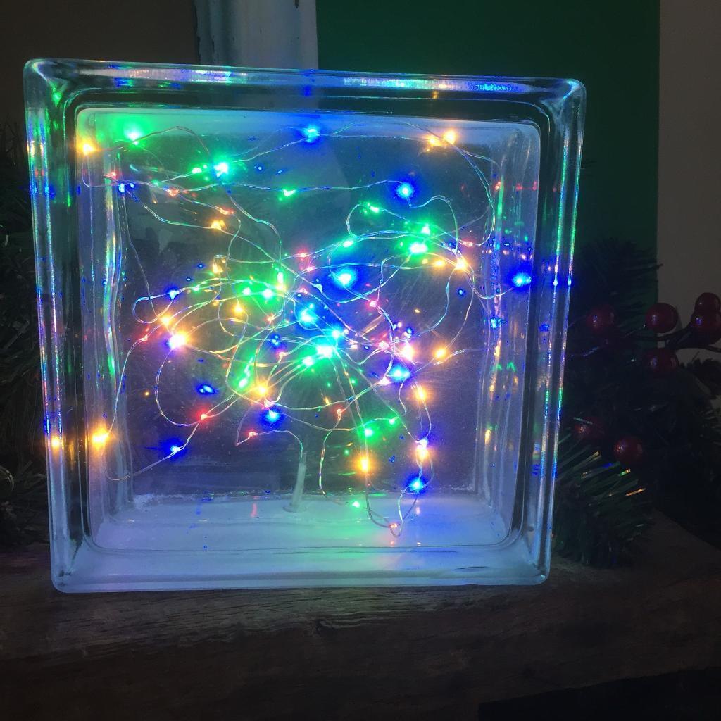 Christmas light glass brick
