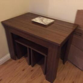 Soiled wooden table