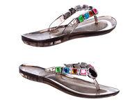 B/NEW BLACK Womens Ladies Multicolour Stone Gem Beach Jelly Flip Flop Sandals Shoes Size 7