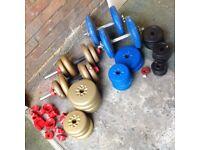 Dumbbells - 2 bar sets plus various weight plates