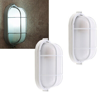 2 Pieces Oval Sauna Light Lamp Metal Lampshade White 45W Explosion-proof