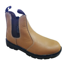 Tan Apollo Leather Dealer Chelsea Slip On Steel Toe Cap Safety Work Boots Shoes