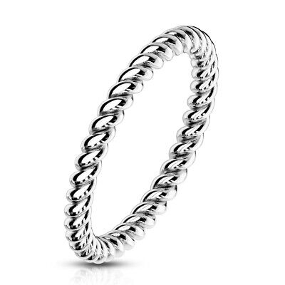 Braided Stainless Steel Stackable Rope Band Ring