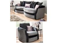 New Olivia black and grey snuggle sofa(Extra chair)FREE DELIVERY