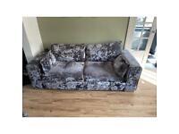 Set of 2x silver grey crushed velvet sofas