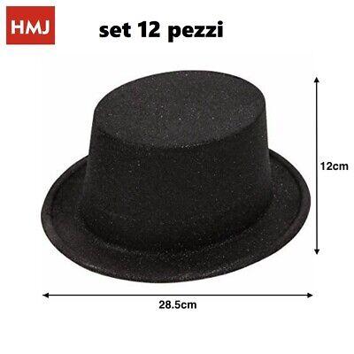 cc Set 12 Pezzi Cappello Cappelli Glitter Brillantati Neri Per Feste Party hmj