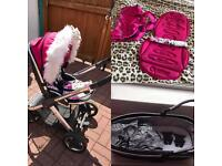 Hot pink oyster 2 pram with extras