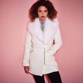 Women White fur coat -Jacket New