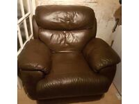 FREE TO COLLECT, RECLINING LEATHER SOFA & CHAIR