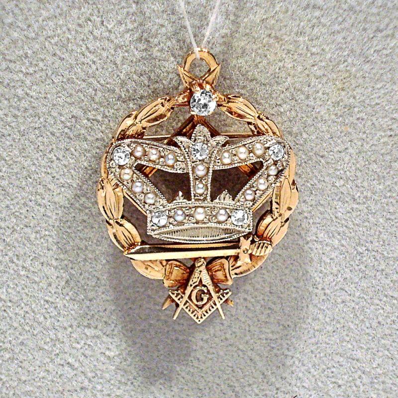 SOLID 14K 2-TONE GOLD DIAMONDS & PEARLS MASONIC GRAND ROYAL PATRON PIN / PENDANT