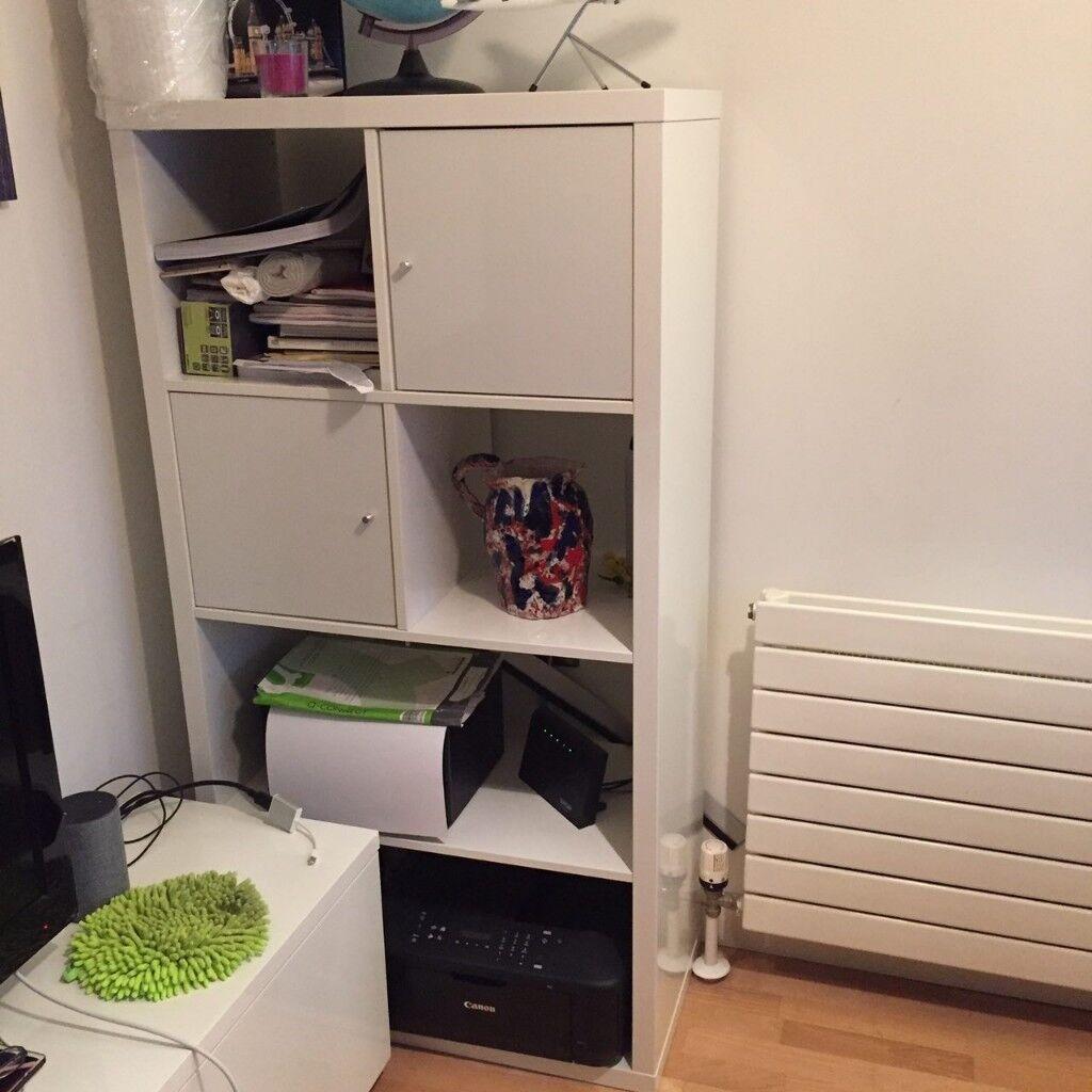 Ikea Kallax White Gloss With Two Doors In Kensington