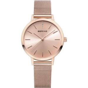 BERING 13434-366 Womens Rose Gold Classic Watch Rose Gold Milanese Strap