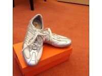 Silver leather trainers by Geox, brand new never worn