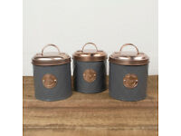 3x Copper Tea, Coffee & Sugar Kitchen Storage Canisters