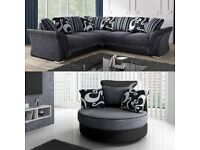 BRAND NEW SHANNON BLACK AND GREY CORNER OR 3+2 SEATER SOFA SET AVAILABLE IN STOCK ORDER NOW