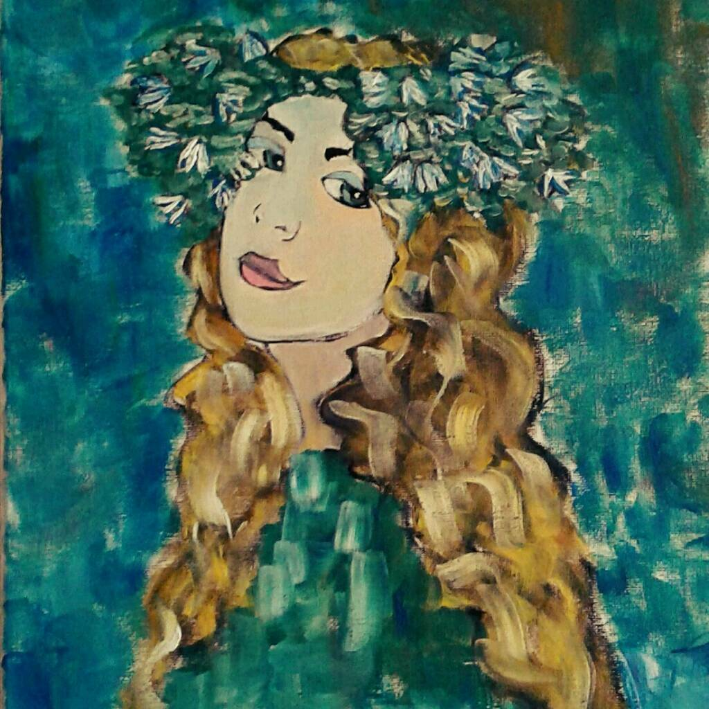 The girl with snow drops - original oil painting