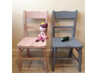 2 Vintage child chairs re-painted REDUCED PRICE, ONLY £25 FOR BOTH - OFFER ENDS TOMORROW 4TH DEC