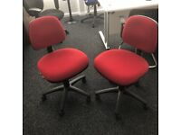 2 Red office Chairs in great condition