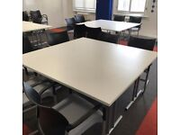 11 - SENATOR HARLEY -TRAINING / FOLDING TABLES IN WHITE- 1400MM X 700MM VG COND -HUGE SAVINGS ON NEW