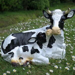 Dekofigur Kuh mit Kalb, Kälbchen Gartenfigur, Bauernhof, Hofladen, Geschenk