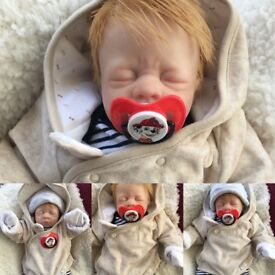 Reborn baby boy and reborn monkeys