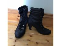Black Heeled Lace-Up Boots Size 4