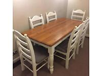 Gorgeous farmhouse style table and six chairs