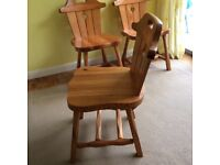 Solid Pine Dining Table 4 Chairs