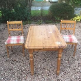 Pine table and 2 upholstered chairs - ideal for upcycling