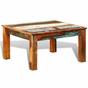 Rustic Square Coffee Table Vintage Reclaimed Wood Furniture Modern Living  Room