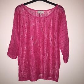 Pink sparkle crochet top