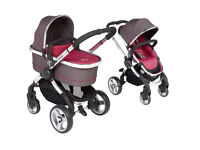 Brand New iCandy Peach 2 Pushchair+Carrycot in Berry Bon Bon, includes raincover, seatpad, footmuff