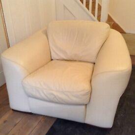 Incanto Italian Cream Leather Chair Armchair