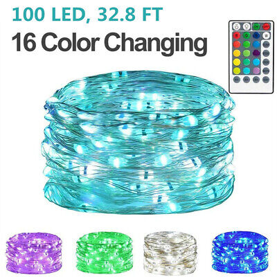 16 Color Changing USB LED Fairy String Lights with Remote Control Indoor&Outdoor