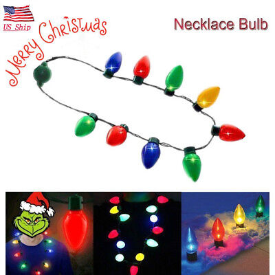 US! LED Light Up Christmas Bulb Necklace Party ideas Jewelry Necklace Xmas Gift (Light Up Christmas Bulb Necklace)